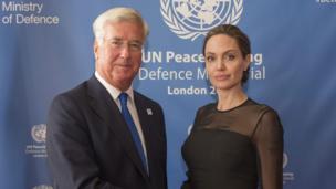 Angelina Jolie with defence secretary Michael Fallon