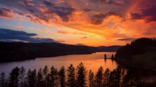 Sunset over Lake Vyrnwy in Powys