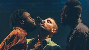 Edinburgh-based hip hop, pop group Young Fathers perform on the i Stage at Festival No 6.