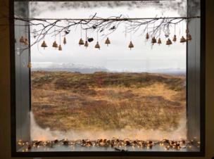 Landscape viewed through a window
