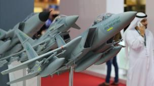 Models of Saudi Royal Air Force fighter jets are seen during the Dubai Airshow on November 12, 2017