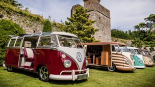 VW campervans at Caldicot Castle in Monmouthshire.