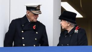 The Queen and the Duke of Edinburgh on the balcony of the Foreign Office