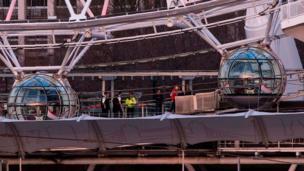 襲擊發生後,泰晤士畔的著名景點「倫敦眼」摩天輪上的遊客被困3個小時。