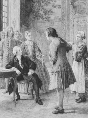 La cinta robada, ilustración de Les Confessions, de Rousseau (Launette 1889).