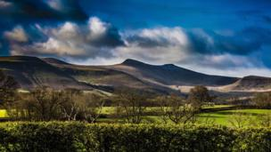 Moody blue sky over the Brecon Beacons