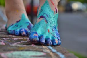 Paint covered feet