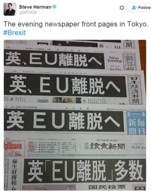"""The evening newspaper front pages in Tokyo. #Brexit"""