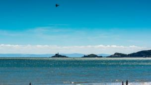 A Typhoon over the Mumbles head during Swansea Airshow