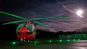 Supermoon and the Wales Air Ambulance in Dafen, Carmarthenhire