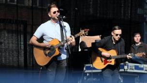 Singer Brian McFadden entertained the crowds at the open air concert at Custom House Square in Belfast