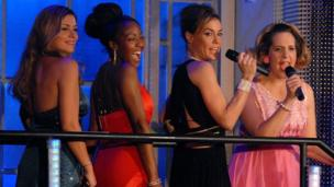 "(L-R) Tricia Penrose, Angellica Bell, Tara Palmer-Tomkinson and Mel Giedroyc performing on ""Comic Relief Does Fame Academy"" on Sunday 11 March 2007"