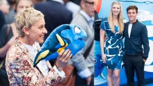 Ellen DeGeneres, Rebecca Adlington and Tom Daley at the Finding Nemo premiere