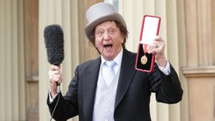 Ken Dodd after receiving his knighthood in 2017