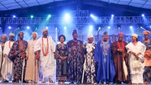 Dignitries wey come di African Drum festival