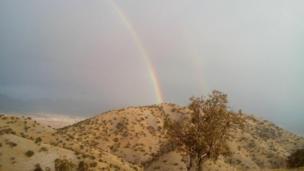 عنایت: اولین باران پاییزی ایلام و یک رنگین کمان زیبا