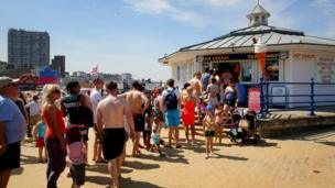 A queue for ice creams in Margate