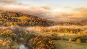 Morning mist near Llangollen, Denbighshire