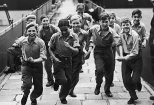 Wimbledon ball boys, all from Barnardo's children's homes, during their training, 1 July 1946
