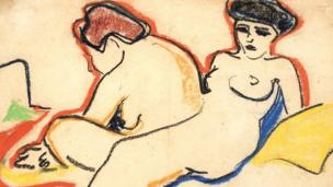 Zwei Akte auf Lager (Two Nudes in Stock) by German artist Ernst Ludwig Kirchner