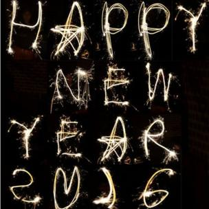 Sparklers spell out Happy New Year 2016