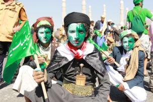 شیعیان حوثی در صنعا پایتخت یمن تولد پیامبر اسلام را جشن میگیرند