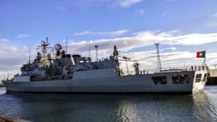 NATO warship in Belfast
