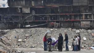 พื้นที่หลายแห่งทางฝั่งตะวันออกของเมืองอเลปโปอยู่ในสภาพพังพินาศย่อยยับ