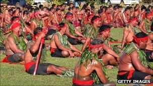 Samoan matai, or chiefs, attend a ceremony