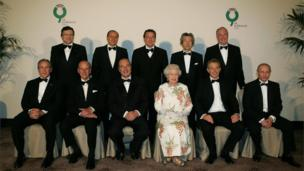 European Commissioner Jose Manuel Barroso (back row, from left) stands alongside other leaders of G8 countries notably; Silvio Berlusconi of Italy, Gerhard Schroder of Germany, Junichiro Koizumi of Japan, Paul Martin of Canada, (front row, from left) George W Bush of USA, The Duke of Edinburgh, Jacques Chirac of France, Britain's Queen Elizabeth II, Tony Blair of UK and Vladimir Putin of Russia, at Gleneagles, Scotland. Wednesday 6 July 2005.