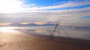 Sea fishing at Dinas Dinlle beach, Gwynedd, as captured by Mel Garside