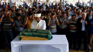 Funeral of Sehriban Nurbay, a 3-month-old girl killed in the Gaziantep bombing