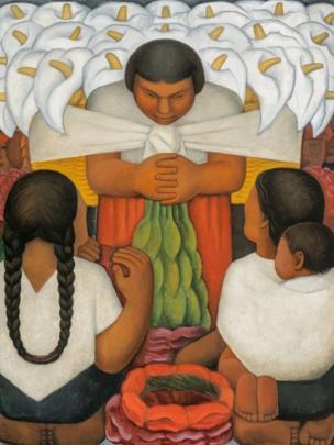 """Exhibición conjunta de cuadros de Pablo PicassObra: """"Día de flores"""", óleo sobre lienzo, Diego Rivera, 1925o y Diego Rivera"""