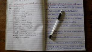 A notebook belonging to Durga Kami