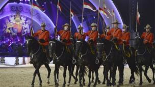 Some of the performers on horseback
