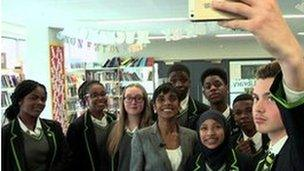 The pupils take a selfie with BBC reporter Reeta Chakrabarti
