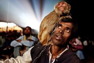 ટ્રાવેલિંગ સિનેમા નિહાળતા વાંદરા સાથેના વ્યક્તિનો ફોટો