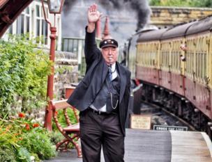 Stationmaster at Grosmont station