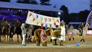 A pantomime corgi and a yak