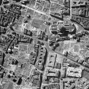 St Paul's Cathedral, City of London. A post-war vertical aerial photograph taken by the RAF shows the devastation around St Paul's Cathedral.