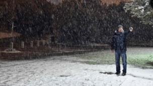 एथेंस में बर्फ़बारी