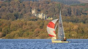 Margam Abbey sits in the background at Tata sailing club regatta, taken by Nick Dallimore.
