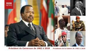 Paul Biya a été l'homologue de six présidents guinéens: Sékou Touré, Paul Béavogui, Lansana Conté, Moussa Dadis Camara, Sékouba Konaté et Alpha Condé.