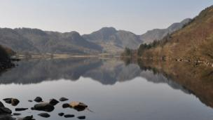 Lake Crafnant and the Carneddau mountains in Snowdonia