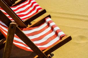 A close-up of deck chairs
