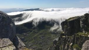 View of inverted clouds taken from Tryfan looking towards the Glyderau peaks