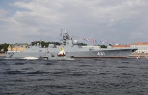 أحدث السفن الحربية الروسية، الفرقاطة الأميرال كاساتونوف، في سانت بطرسبورغ.