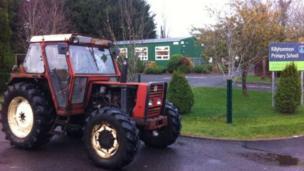 Tractor outside of Killyhommon school