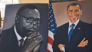 Kushoto ni mchoro wa babake obama na kulia ni Barrack Obama