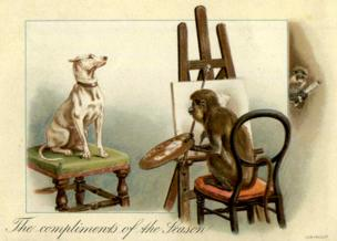 Victorian Christmas card with a monkey painting a dog